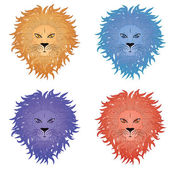 Grunge illustration of a male lion face on white background