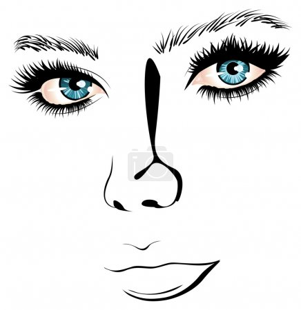 Illustration for Female face with blue eyes in simple black and white line art style. - Royalty Free Image