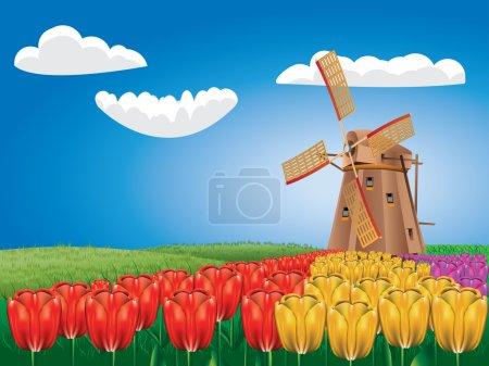 Illustration pour Paysage animé avec un moulin à vent traditionnel et des fleurs de tulipes . - image libre de droit