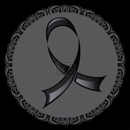 Illustration for Stylized black ribbon, mourning and melanoma symbol. - Royalty Free Image