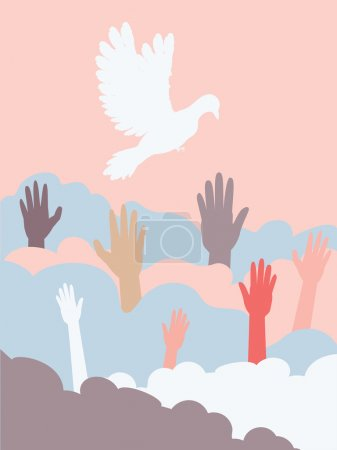 Group of hands and dove silhouette, flat illustrat...