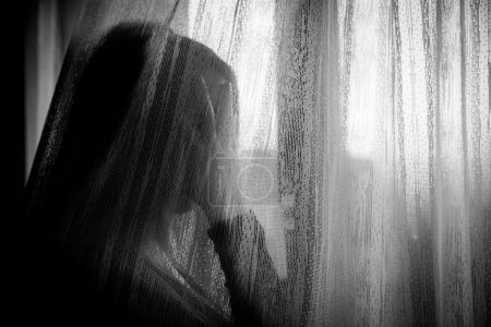 Photo for Lonely sad woman in distress - Royalty Free Image