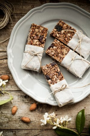 Photo for Overhead view of homemade granola energy bars - Royalty Free Image
