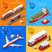 Logistic 3D icons set flat isometric transport truck maritime shipping ship air cargo plane and rail transportation realistic express delivery vehicles illustrations EPS 10 JPG JPEG