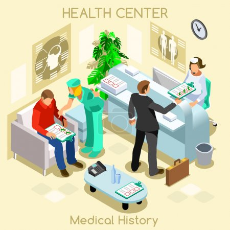 Illustration for Clinic patient medical history waiting room before medical visit. Hospital clinic reception patients waiting medical consult. Healthcare 3D flat isometric people collection JPG JPEG EPS vector image - Royalty Free Image