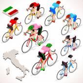 Cyklista Giro Italia izometrický lidí