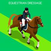 Equestrian Dressage Summer Games Icon Set3D Isometric Jockey and Horse Sporting CompetitionSport Infographic Equestrian Dressage Vector Illustration