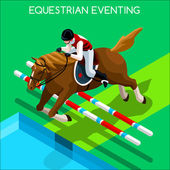 Equestrian Eventing Summer Games Icon Set3D Isometric Jockey and Horse Jump Sporting CompetitionSport Infographic Equestrian Eventing Vector Illustration