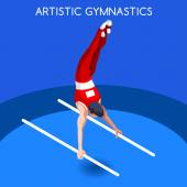Artistic Gymnastics Parallel Bars Summer Games Icon Set3D Isometric GymnastSporting Championship International CompetitionSport Infographic Artistic Gymnastics Vector Illustration