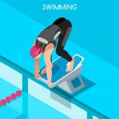 Swimming Freestyle Summer Games Icon Set3D Isometric SwimmerBreaststroke Backstroke Butterfly Relay Sporting Competition RaceSport Infographic Swimming Vector Illustration