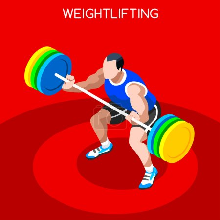 Weightlifting  Summer Games Icon Set.3D Isometric Weightlifter Athlete.Sporting Championship International Competition.Sport Infographic Athletic Weightlifting Vector Illustration