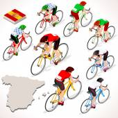 Vuelta de Espana Spain racing cyclist group riding bicycle path. Vector cyclist icon. Cyclist icons. Flat 3D isometric people set of vector cyclist and bicycle icons. Isometric bicycle race