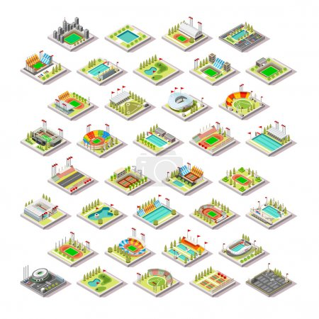 Olympic Rio 2016 Sport Facility Building Set.Miniature 3D Isometric City Map Sport Park Buildings Infographic Elements.Stadium Arena Field Pool Green Track Camp Court Structures. Sport Vector Illustration