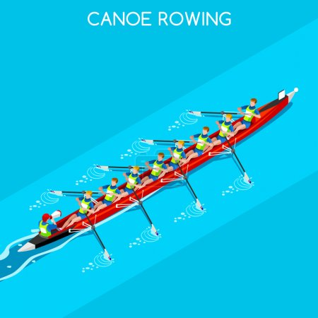 Olympics Canoe Rowing Coxswain Eight Summer Games Icon Set.3D Isometric Canoeist Paddler.Rowing Canoe Coxswain Eight Sporting Competition Race.Olympics Sport Infographic Canoe Rowing Vector Illustration