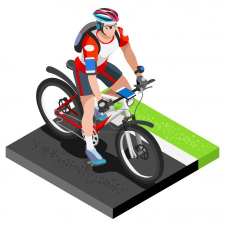 Illustration for Road Cycling Cyclist Working Out.3D Flat Isometric Cyclist on Bicycle. Outdoor Working Out Road Cycling Exercises. Cycling Bike for Bicyclist athlete Working Out training Vector Image. - Royalty Free Image