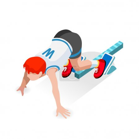 Running Starting Line Kids  Sports Isometric 3D Vector Image