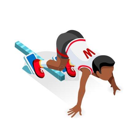 Running Starting Line Kids  Sports Isometric Vector Image