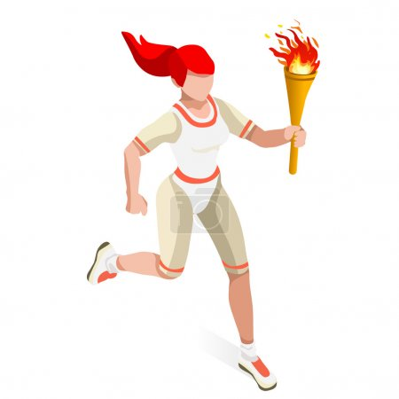 Olympics Torchbearer Relay Running Woman Summer Games Icon Set.Speed Concept.3D Isometric Athlete.Sporting Competition.Olympics Sport Infographic Torchbearer Vector Illustration.