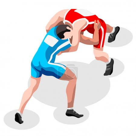 Wrestling Freestyle Fight Summer Games Icon Set.3D Isometric Fighting Athletes.Olympics Sporting Championship International Wrestling Competition.Sport Infographic Freestyle Wrestling Vector Illustration