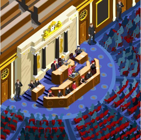 Election Infographic Congress Hall Vector Isometric People