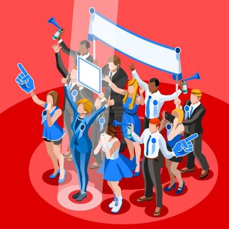 Election Infographic Crowd Congress Vector Isometric People