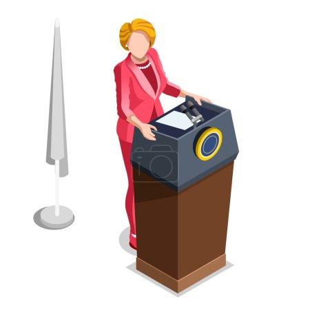 Election Infographic Politics Work Vector Isometric People