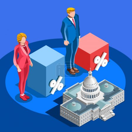 Election Infographic Pools Candidate Vector Isometric People