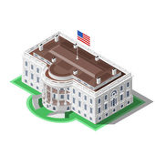 Election Infographic Us White House Vector Isometric Building