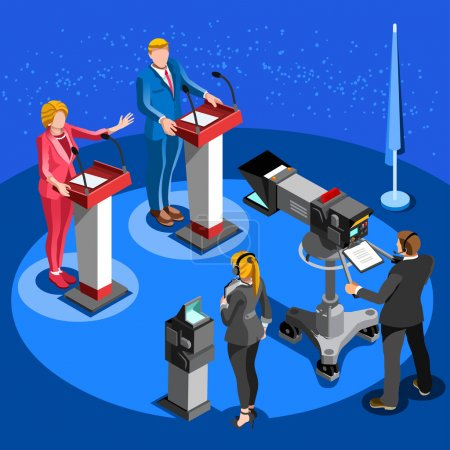 Election News Infographic Live Stream Vector Isometric People