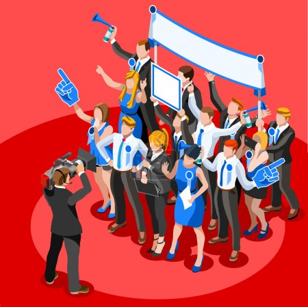 Election News Infographic Party Rally Vector Isometric People