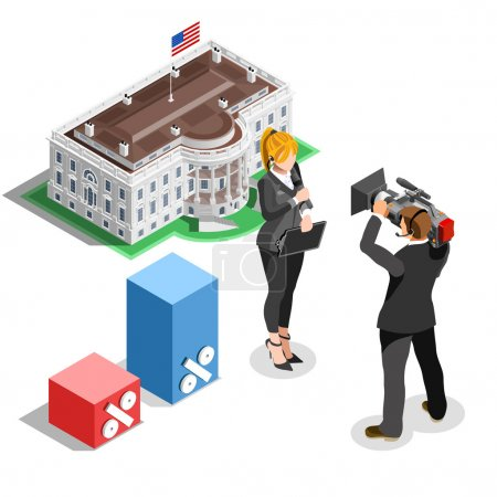 Election News Infographic White House Us Vector Isometric People