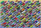 Isometric Cars Buses Trucks Vans Mega Collection All In