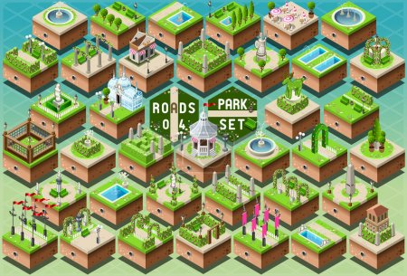 Isometric Accessories for Green City Park Set