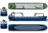 Ortogonální modrý tisk nákladní loď