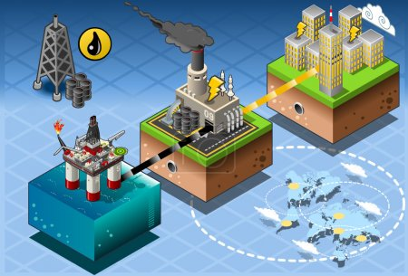 Isometric Infographic Petroleum Rig Energy Diagram