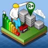 Certificazione energetica isometrico di Infographic