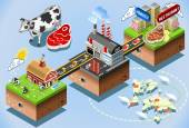 Isometric Infographic Beef Distribution Chain