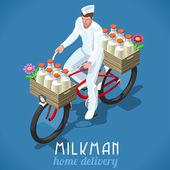 Milkman Bicycle Vintage Isometric
