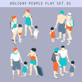 Tourist People 3D Flat Isometric Set 01