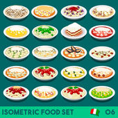 Pasta COMPLETE Collection NEW lively palette 3D Flat Vector Icon Set of Italian Menu Italian Pasta Salad Recipes Carbonara Chicken Shrimp Scampi Zucchini Pesto Bolognese Vector Illustration Dish
