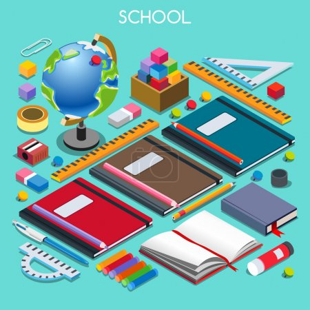 Illustration for School Stationery Set 07. Interacting People Unique Isometric Realistic Poses. NEW lively palette 3D Flat Vector Illustration. Happy Back to School - Royalty Free Image