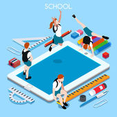 School Devices Set 03 Tablet Interacting People Unique Isometric Realistic Poses NEW lively palette 3D Flat Vector Illustration Happy Back to School