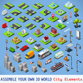 City Map Elements COMPLETE and TESTED Set NEW bright palette 3D Flat Vector Icon Set Urban Fabric Road House Building Car and Truck Vehicle Isolated Vector Collection Assemble Your Own 3D World