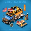 Постер, плакат: Food Truck 01 Vehicle Isometric