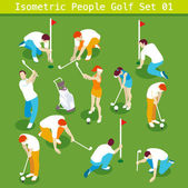 Sport Golf Players Set 01 Interacting People Unique Isometric Realistic Poses NEW bright palette 3D Flat Vector Icon Collection Golf Course or Professional Competition Assemble your Own 3D World