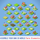 City Map Elements COMPLETE and TESTED Set NEW bright palette 3D Flat Vector Icon Set Rural Road Farm Building Isolated Vector Collection Assemble Your Own 3D World