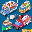 Постер, плакат: Food Truck Set01 Vehicle Isometric