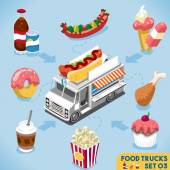 Food Collection Modular Food Truck Food Delivery Master Street Food Chef Web Template NEW Flat 3d Isometric Vector Food Truck Set Full of Taste and High Quality Dishes Alternative Street Cuisine
