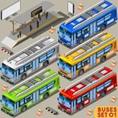 Bus Set 01 Vehicle Isometric
