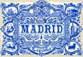 Detailed Traditional Painted Tin Glazed Ceramic Tilework Azulejos Vintage Spanish Tiles Vector Illustration Madrid Spain